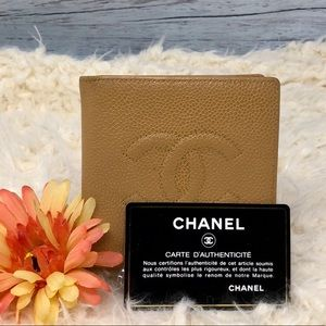 Authentic Chanel Coco Wallet Beige Caviar Leather